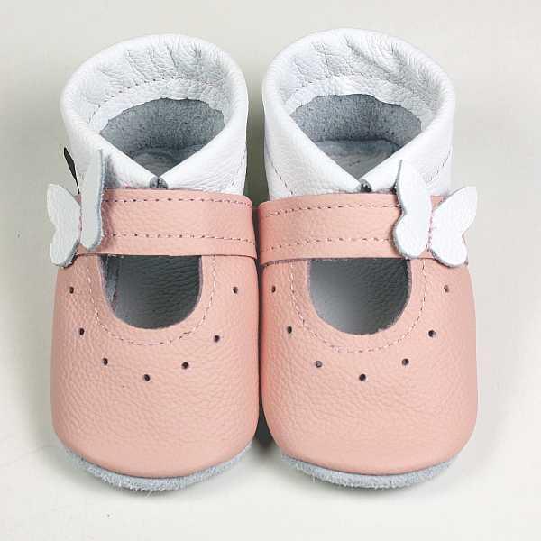 Krabbelschuhe, babyschuhe, Ballerinas in weiß-rosa
