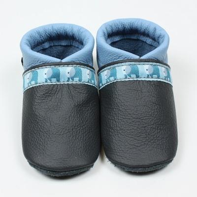 factory price 35f4d 1e881 Krabbelschuhe, Babyschuhe Elefanten in grau-hellblau