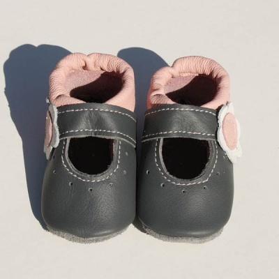 neuer Stil 75365 1aec0 Krabbelschuhe Ballerinas in grau-rosa